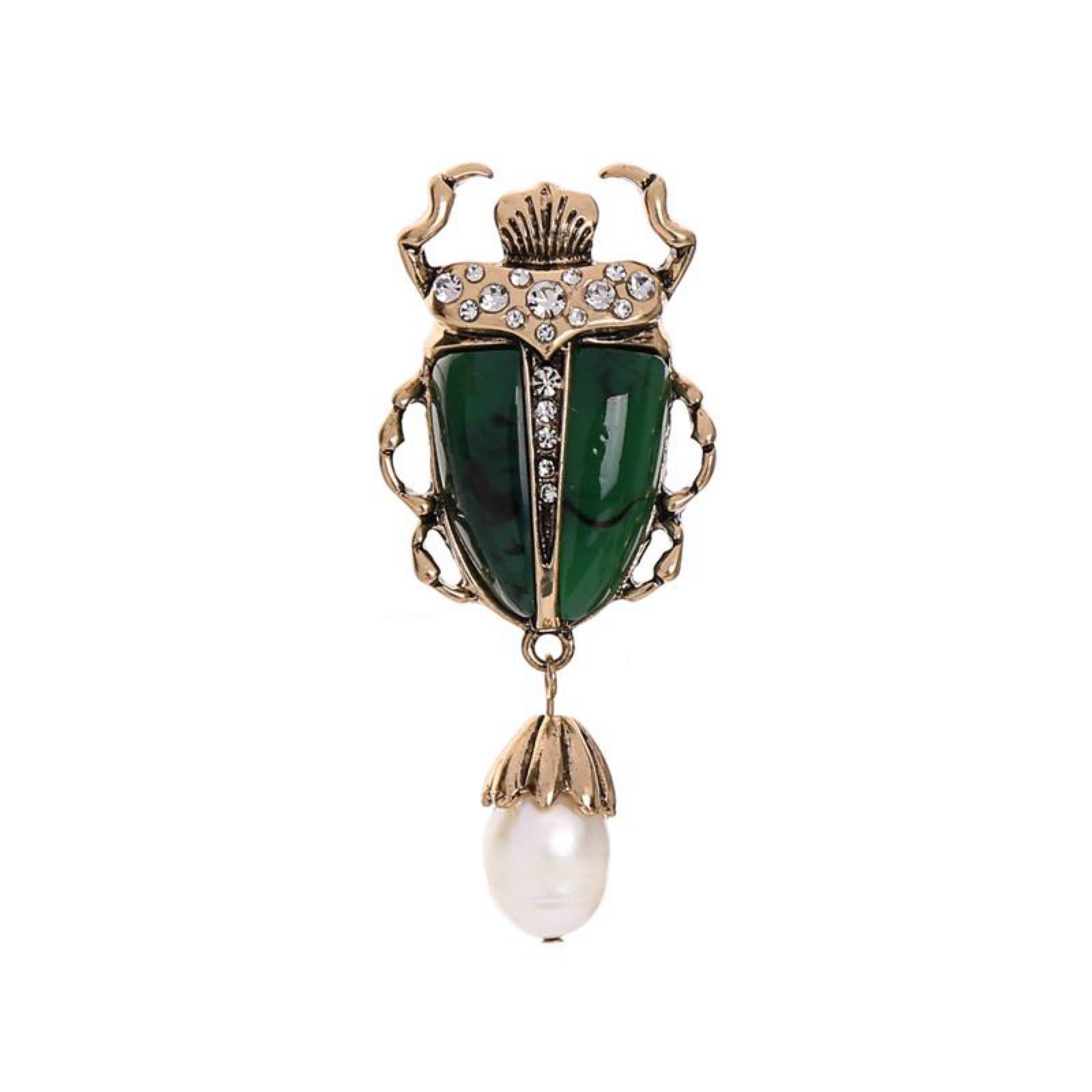 Last True Angel Beetle Drop Pin Brooch With Pearl and Crystal detail