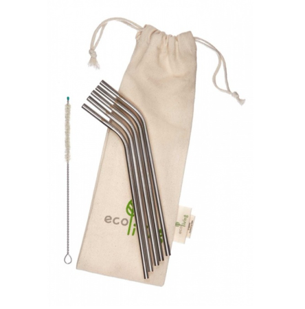 Stainless Steel Bent Drinking Straws with Plastic-Free Cleaning Brush & Organic Carry Pouch (5)