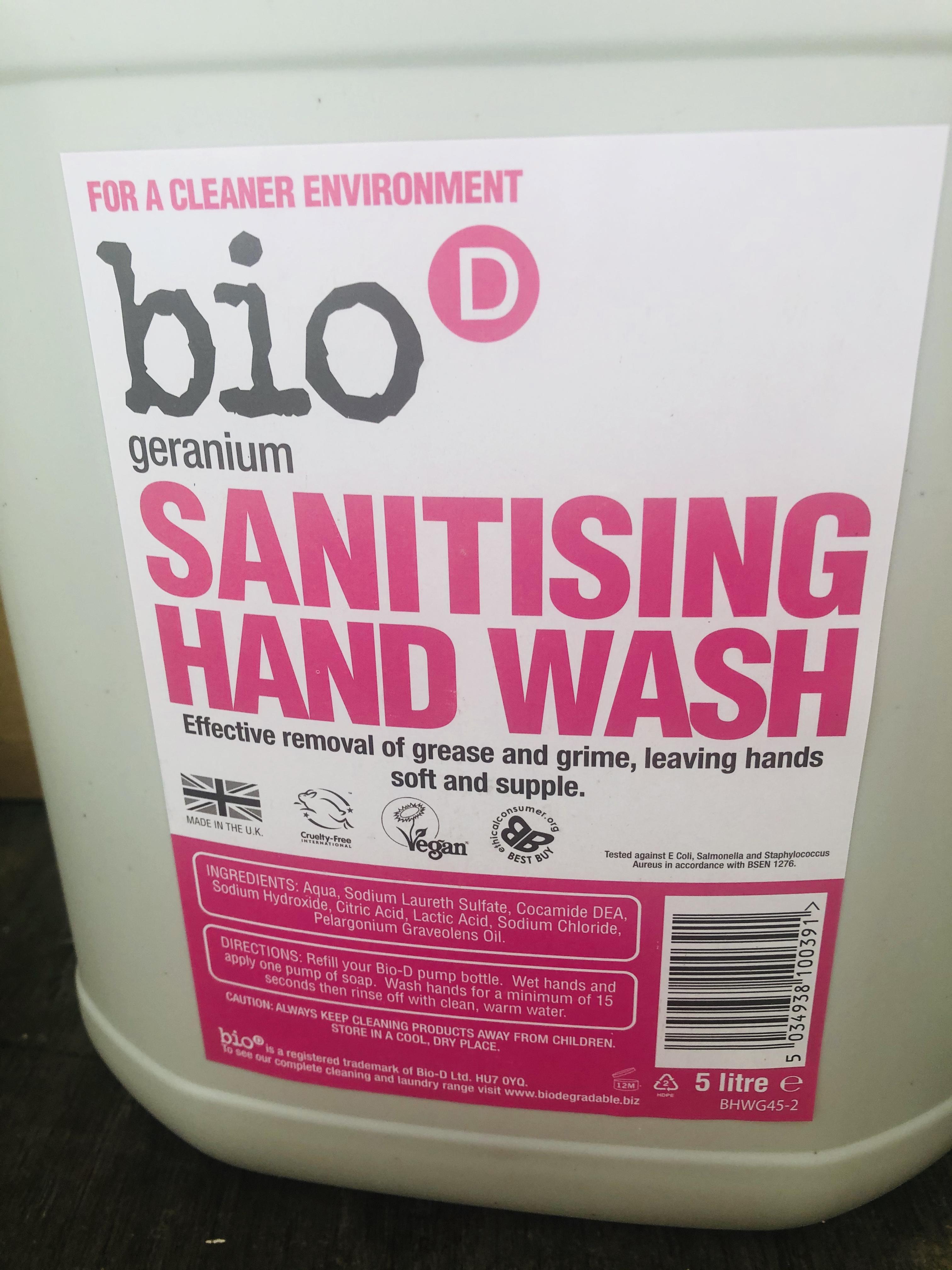 Sanitising Hand Wash (BioD) Geranium/Lime & Aloe Vera