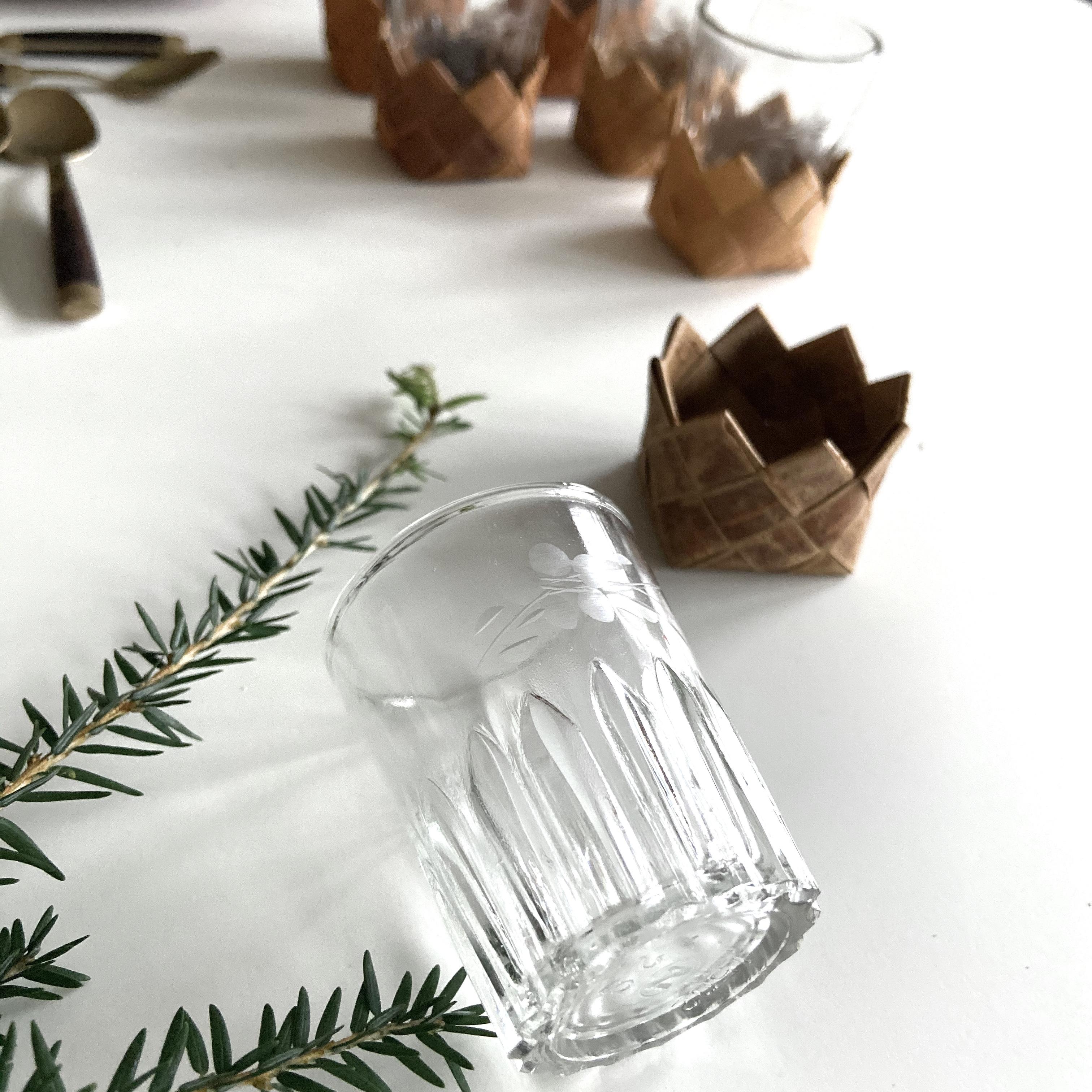 Glögg/snapsglas i näver, set om sex