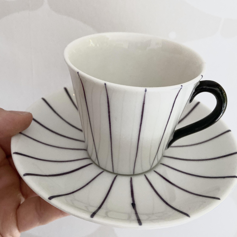 Violetta, kaffekoppar Gefle, set om fyra
