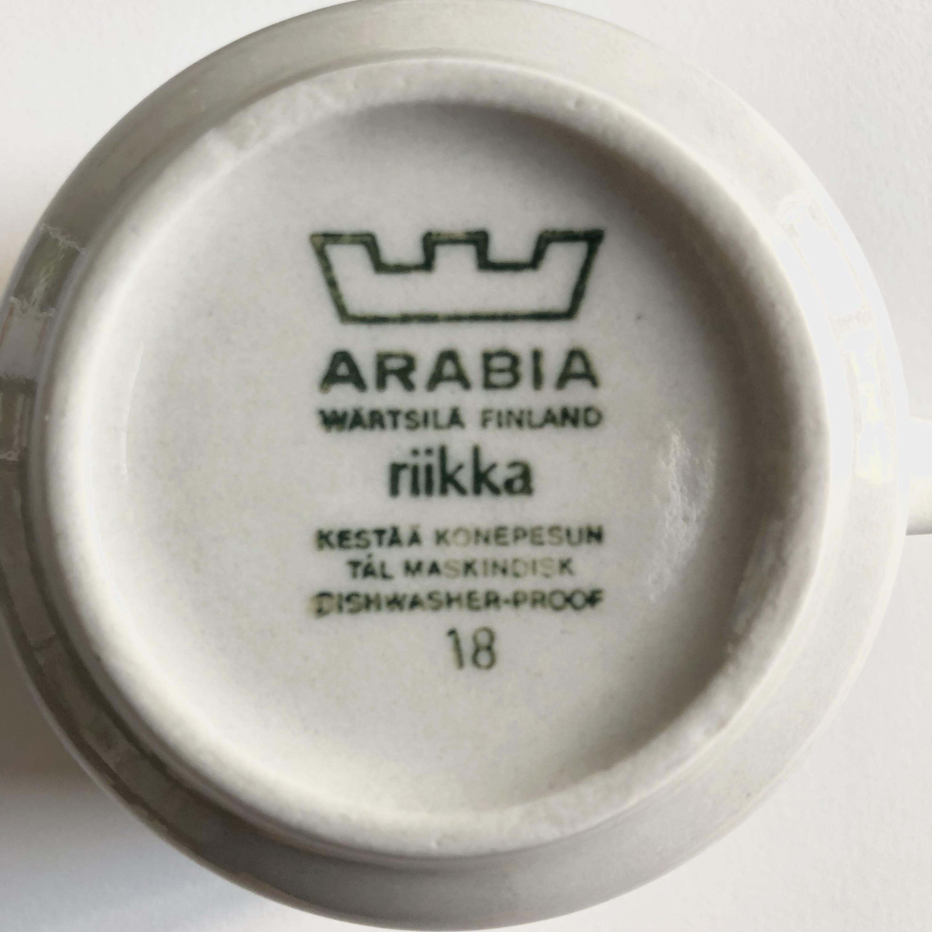 Arabia Riikka, kaffekoppar med assietter, set om sex