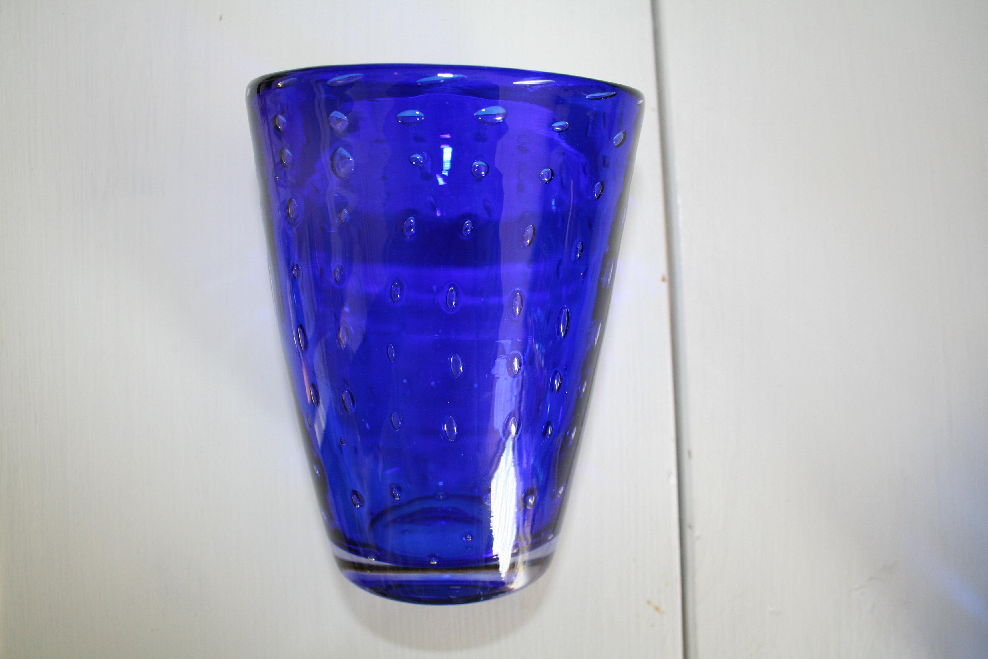 Glas blå kosta (second hand, vintage, retro)