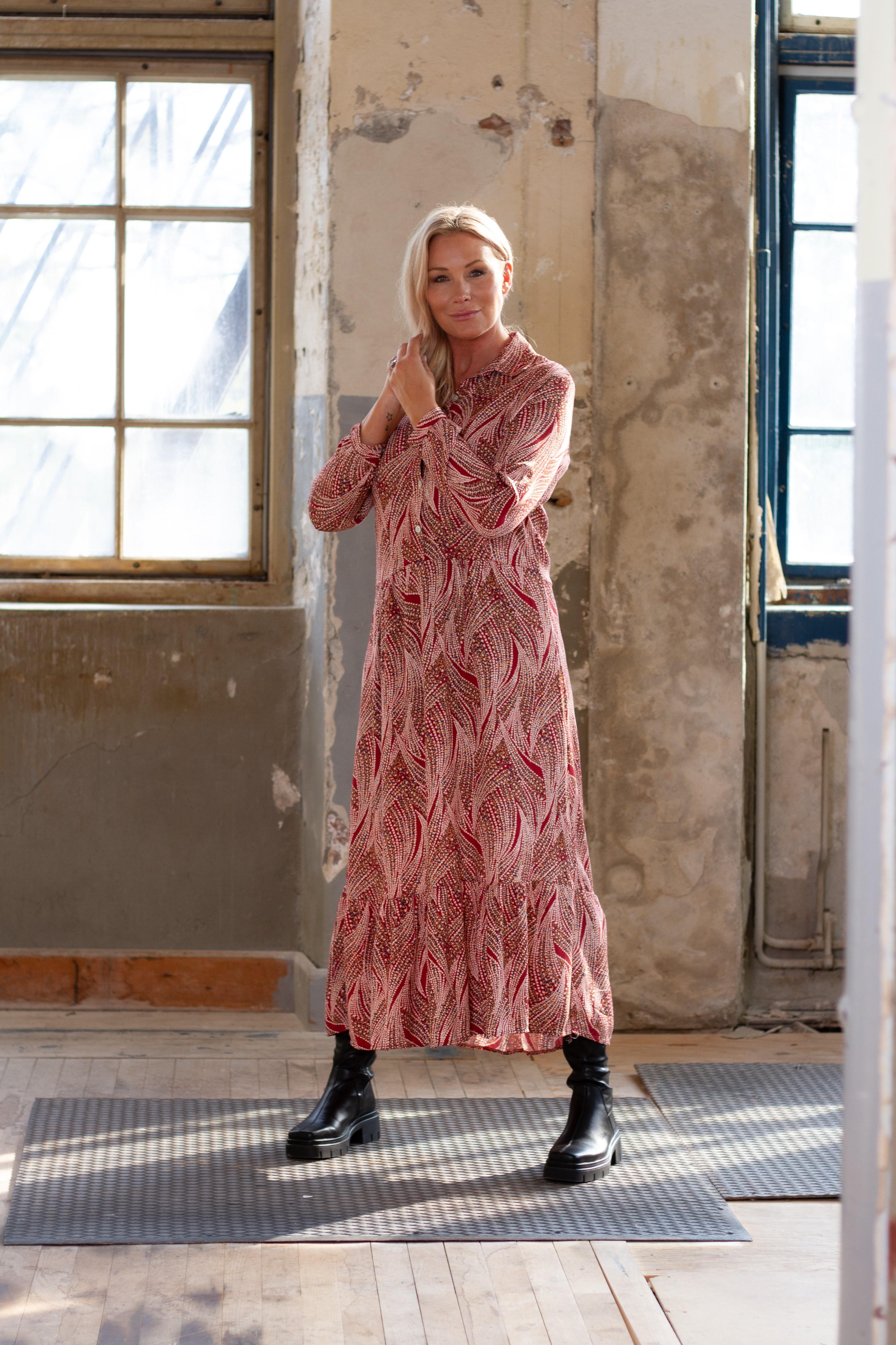 Klänning - Viskosklänning Elisa Multi, Röd (Stajl)