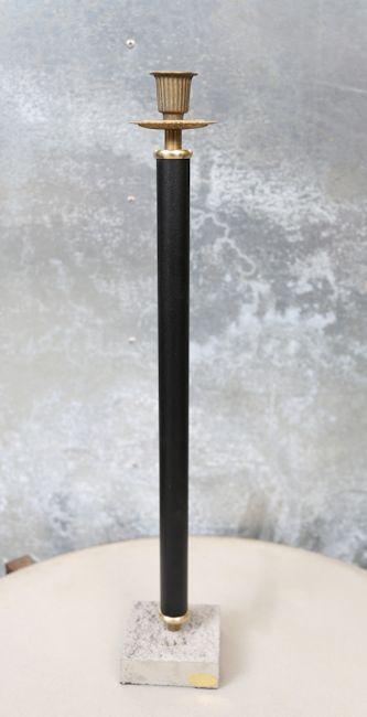 Ljusstake med cementfot, svart (höjd 50  cm)