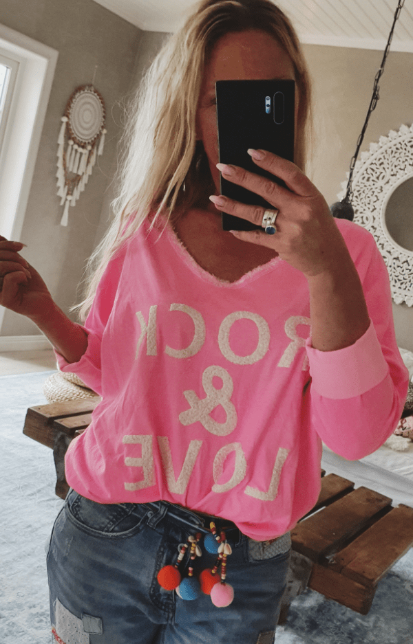 T-shirt - Rock and Love  Sweater neon pink (Love Forever) - Rosa