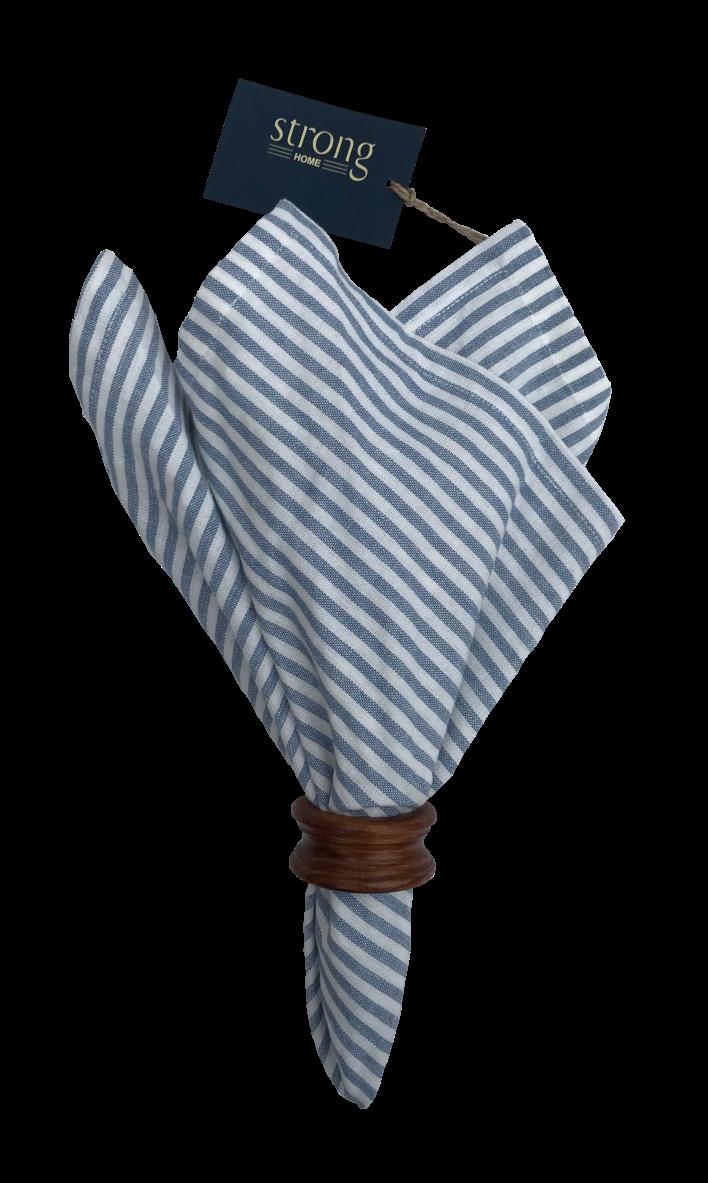 Servetter - Bankor Stripe Napkin 50*50 cm, Sky blue
