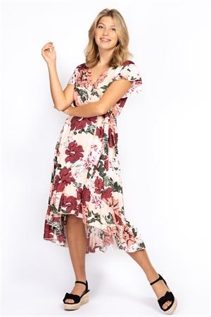 Klänning - Monroe Dress Peach/Rose/White