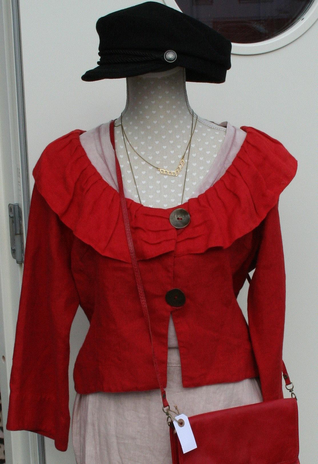 Jacka röd linne (second hand, vintage, retro)