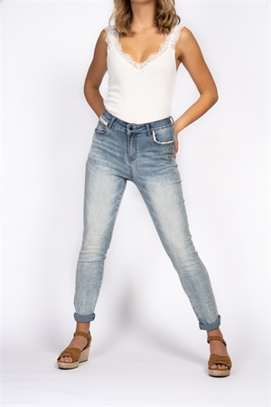 Byxor - Amore Jeans Light Blue Denim Capri Collection