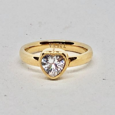Ring lovehearts stål med sten gold 17mm (Tilva)