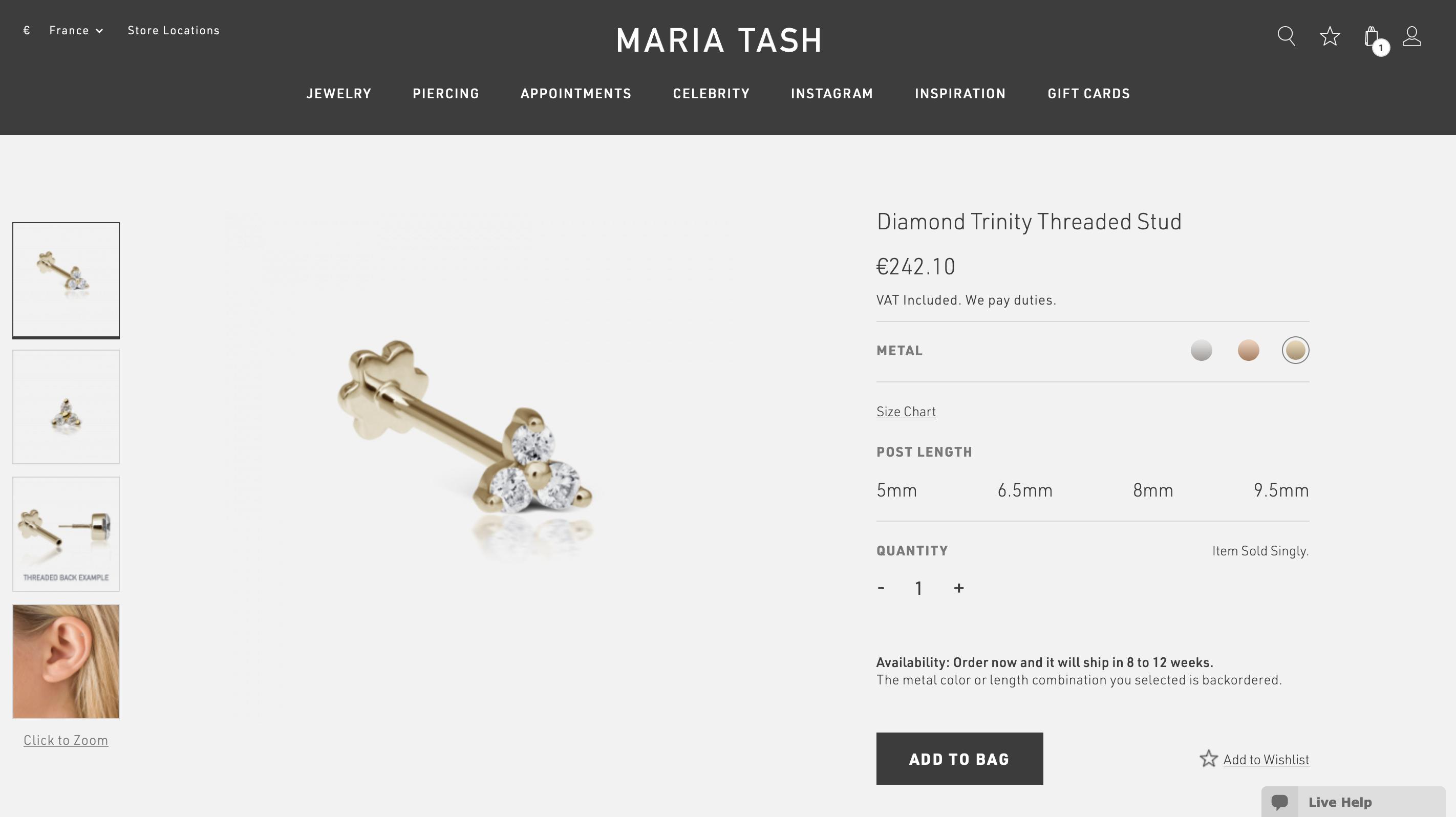 Anzahlung Gianna Custom Order Maria Tash