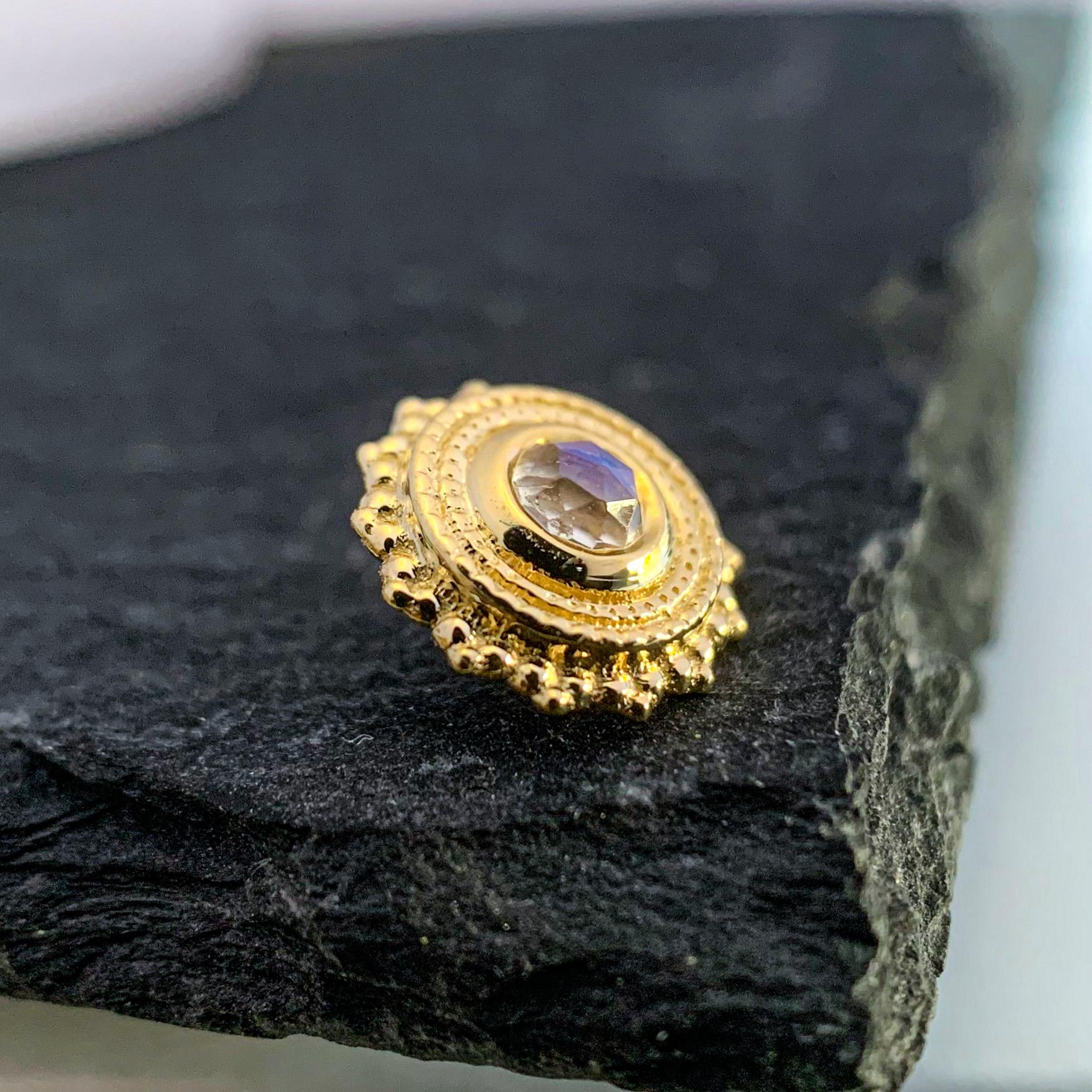 BVLA 14k Echtgold Aufsatz Round Afghan Rainbow Moonstone