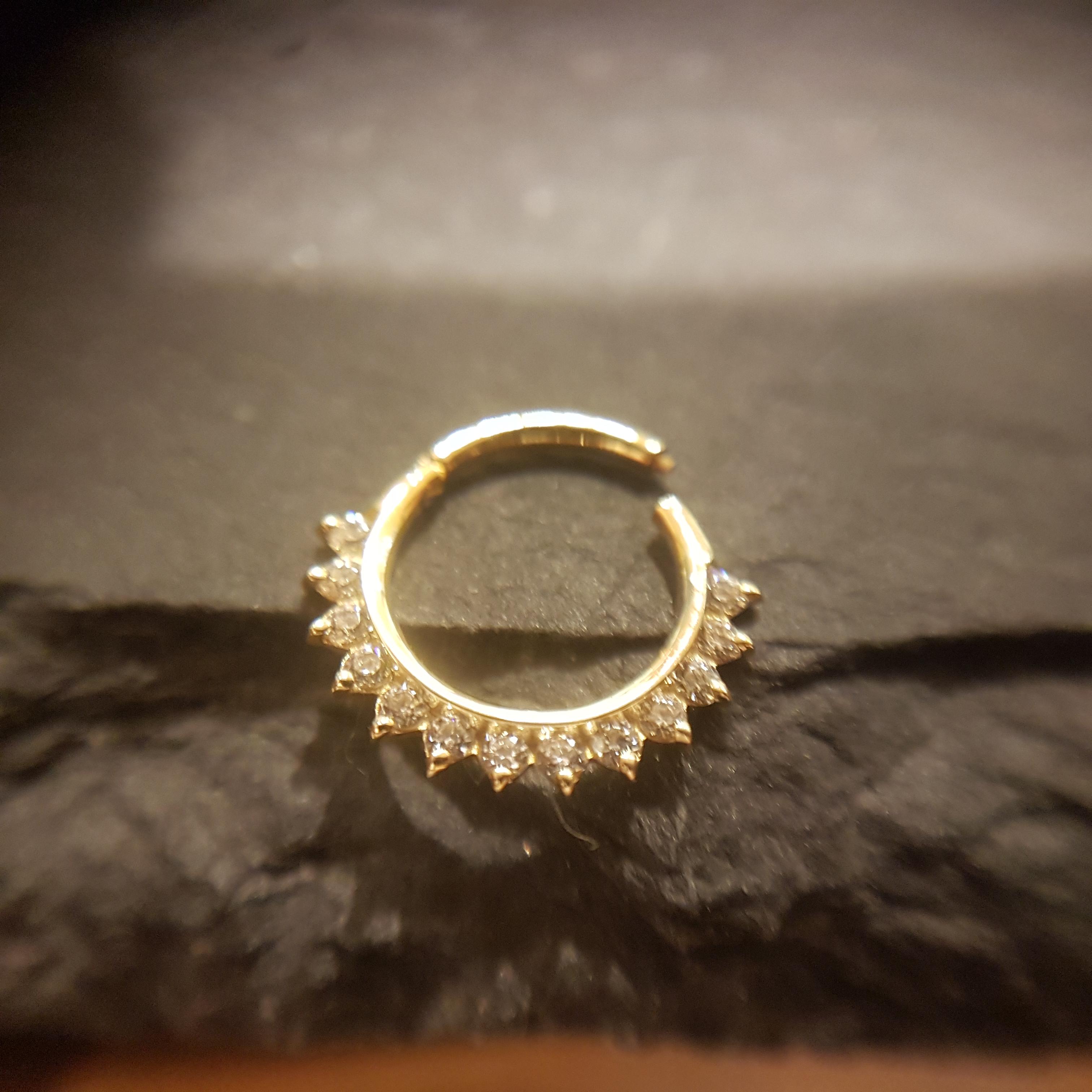 Auris 14k Echtgold Tiara Clicker Ring gelbgold