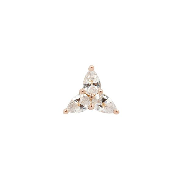 Buddha Jewelry 14k 3 LITTLE PEARS threadless ends rosegold