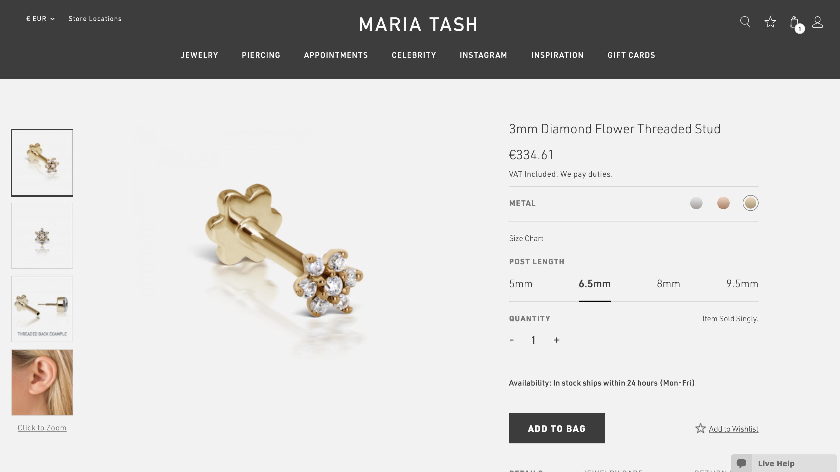 Anzahlung Jessica Custom Order Maria Tash