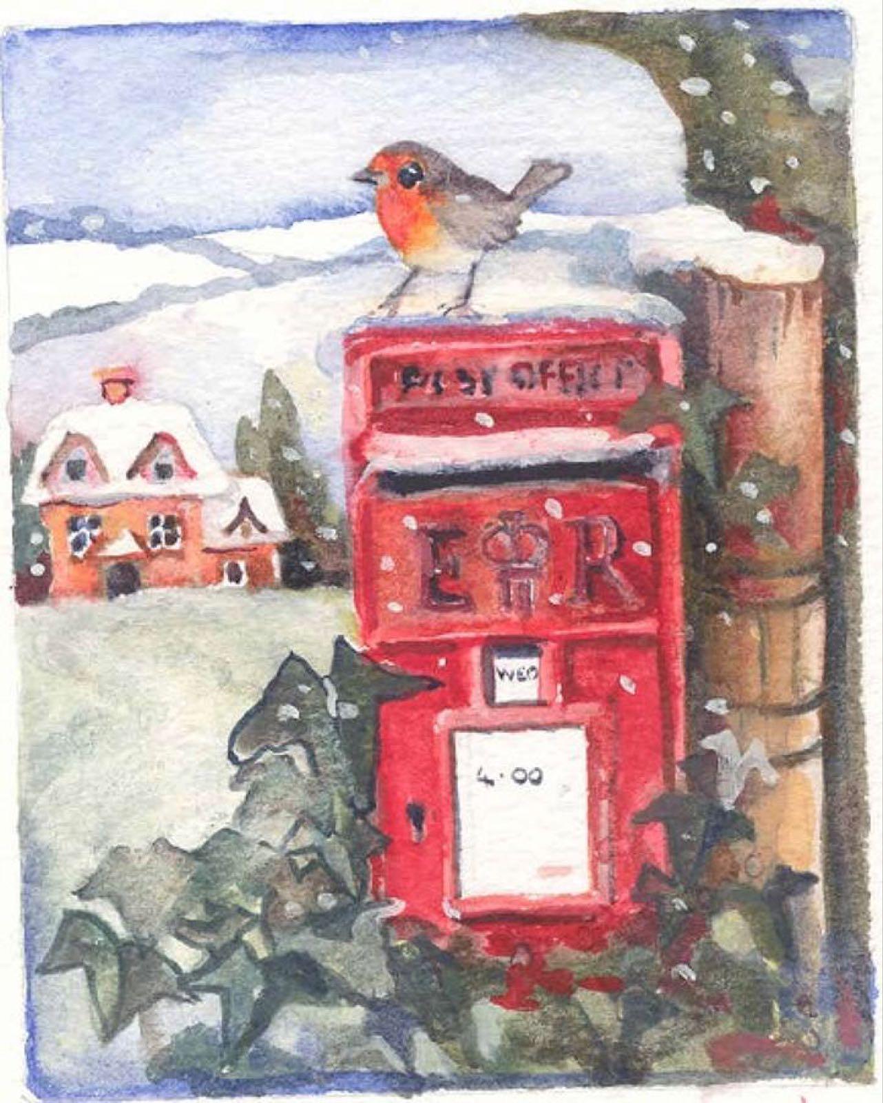 'Robin & Letterbox' Furzedown Gallery Mini Card