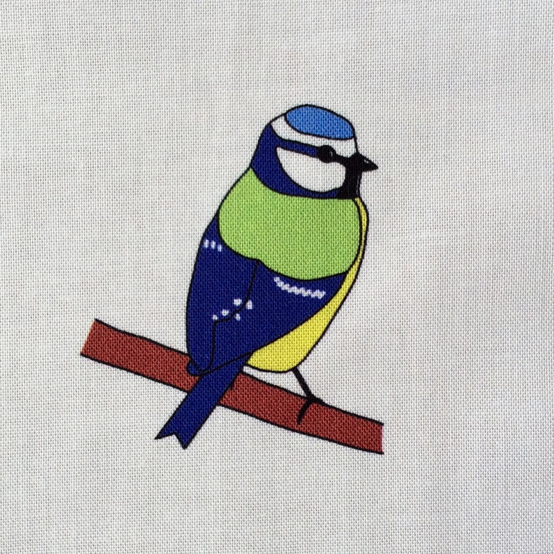 Woodland birds fabric strip