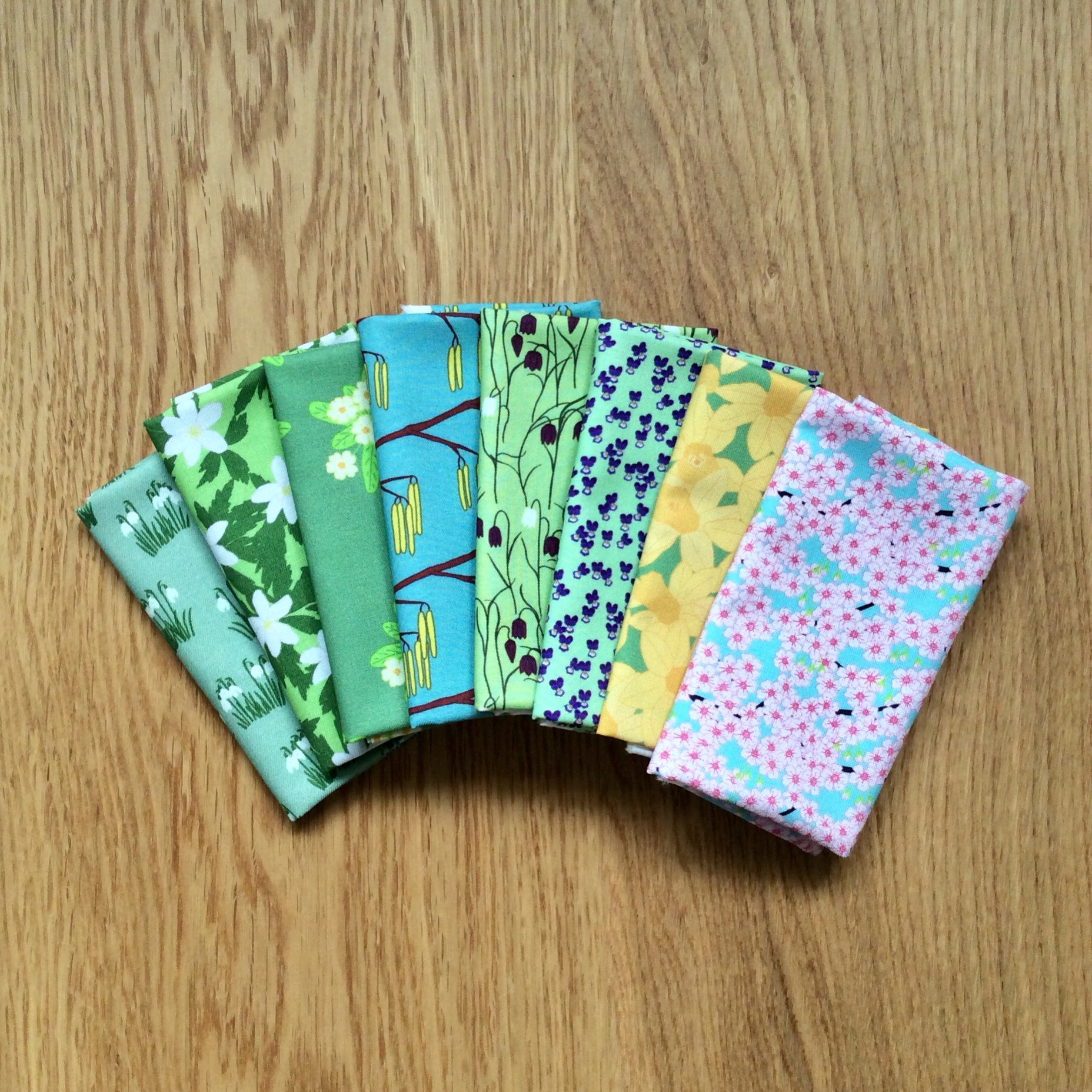 Spring garden flowers fabric fat eighth bundle