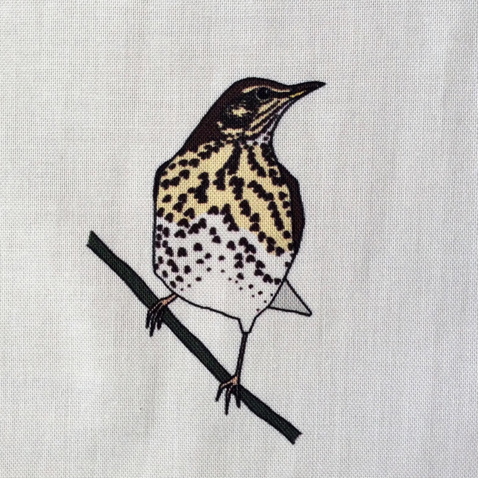 9 Autumn woodland birds fabric strip (four seasons)