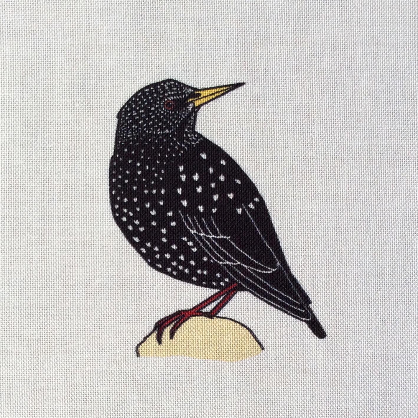 9 Winter hedgerow birds fabric strip