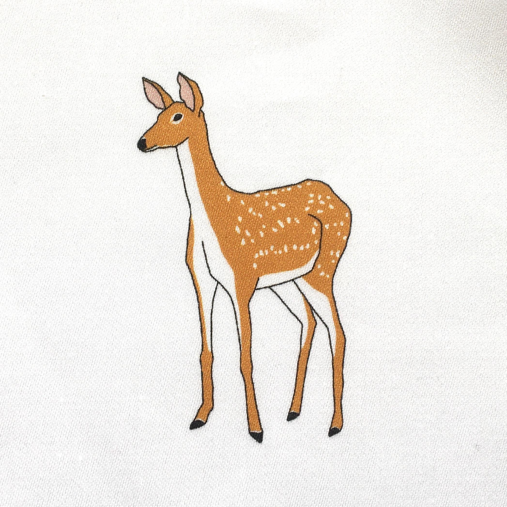 Countryside wildlife fabric strip - organic sateen