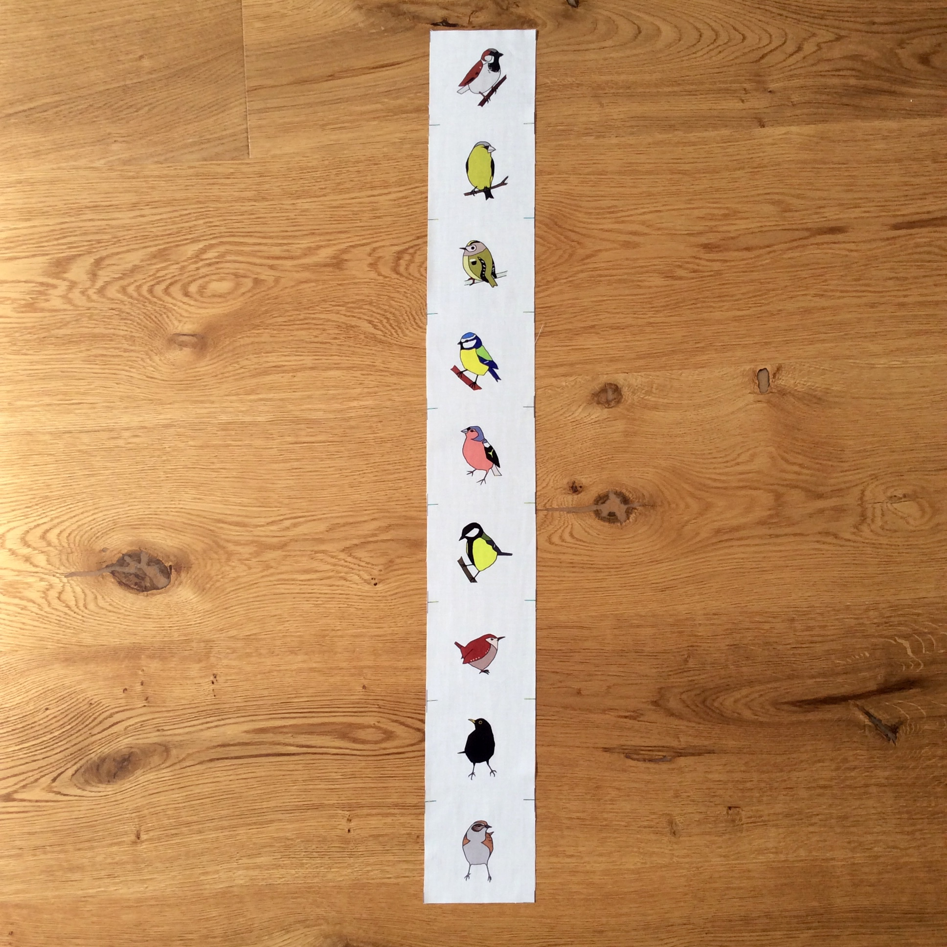 9 Spring garden birds fabric strip