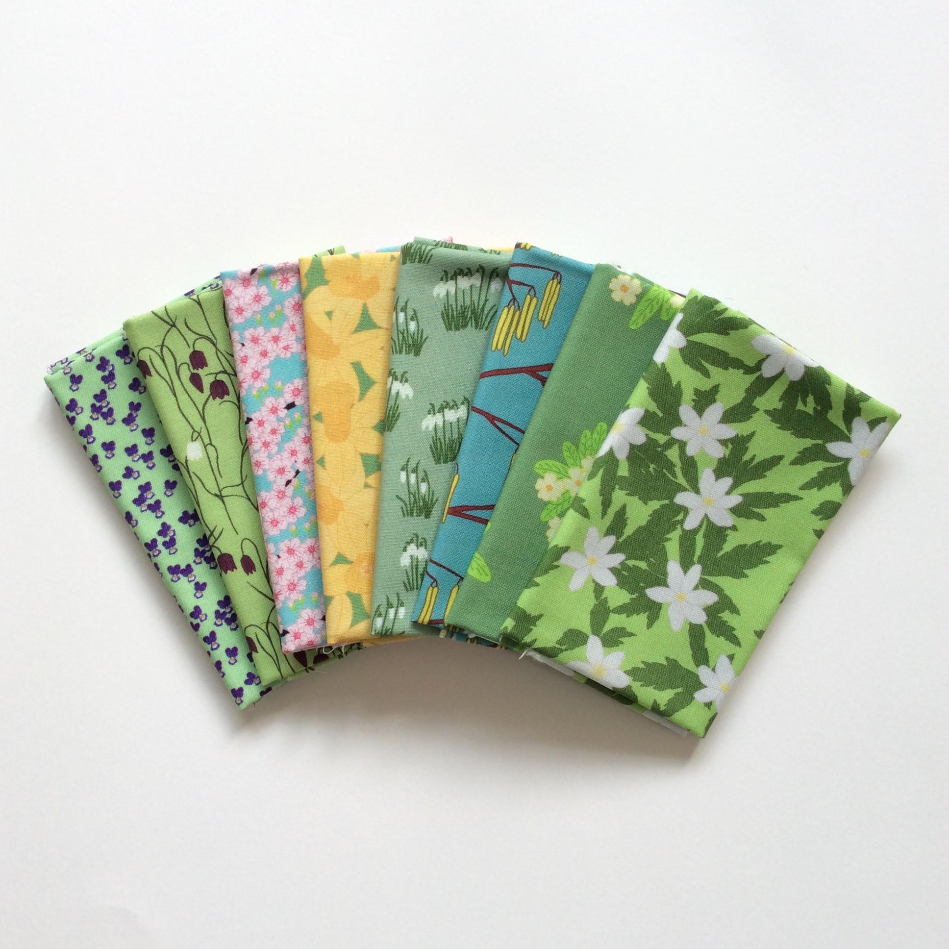 Spring garden flowers fabric fat eighth bundle