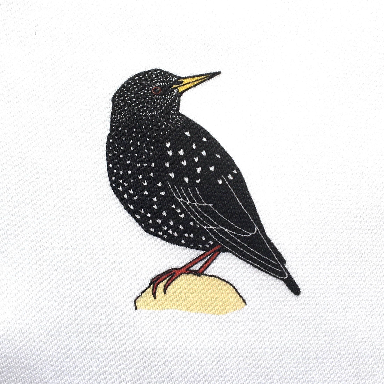 Garden birds fabric strip - organic sateen