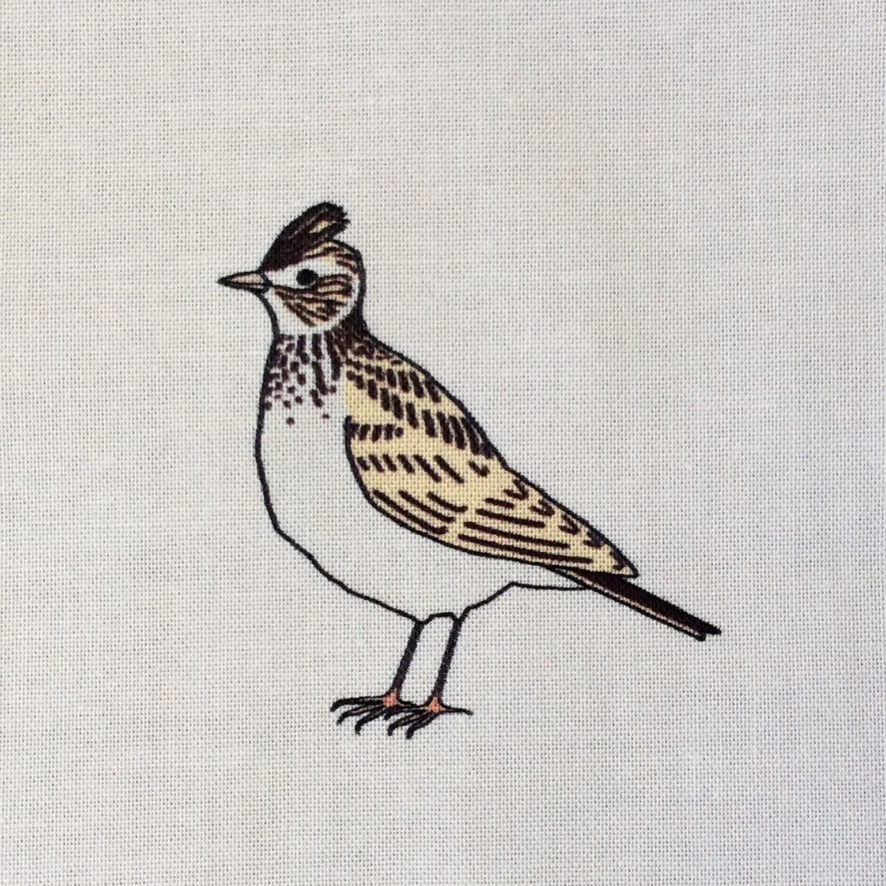 9 Summer meadow birds fabric strip