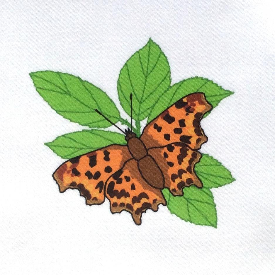 Garden butterflies fabric strip - organic sateen