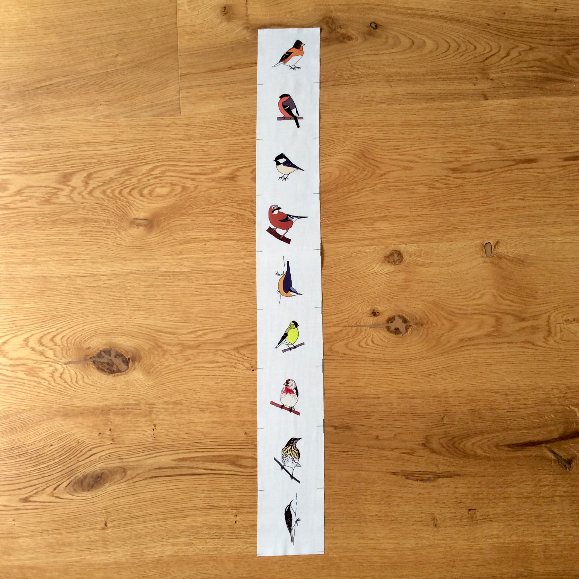 9 Autumn woodland birds fabric strip (four seasons)