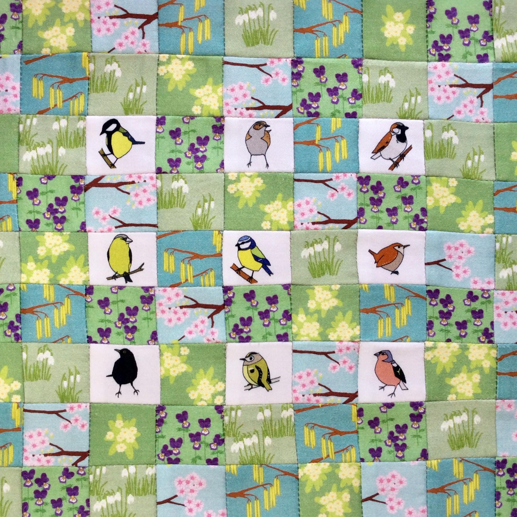 Mini Spring garden birds patchwork kit