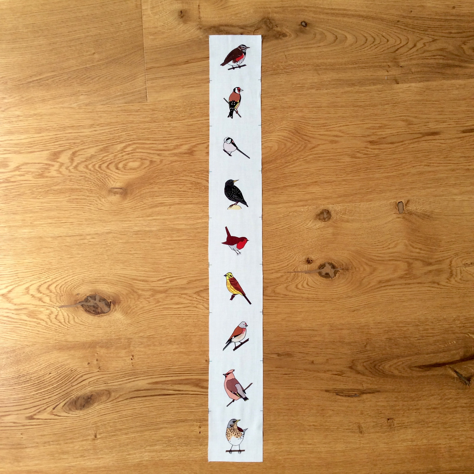 9 Winter hedgerow birds fabric strip