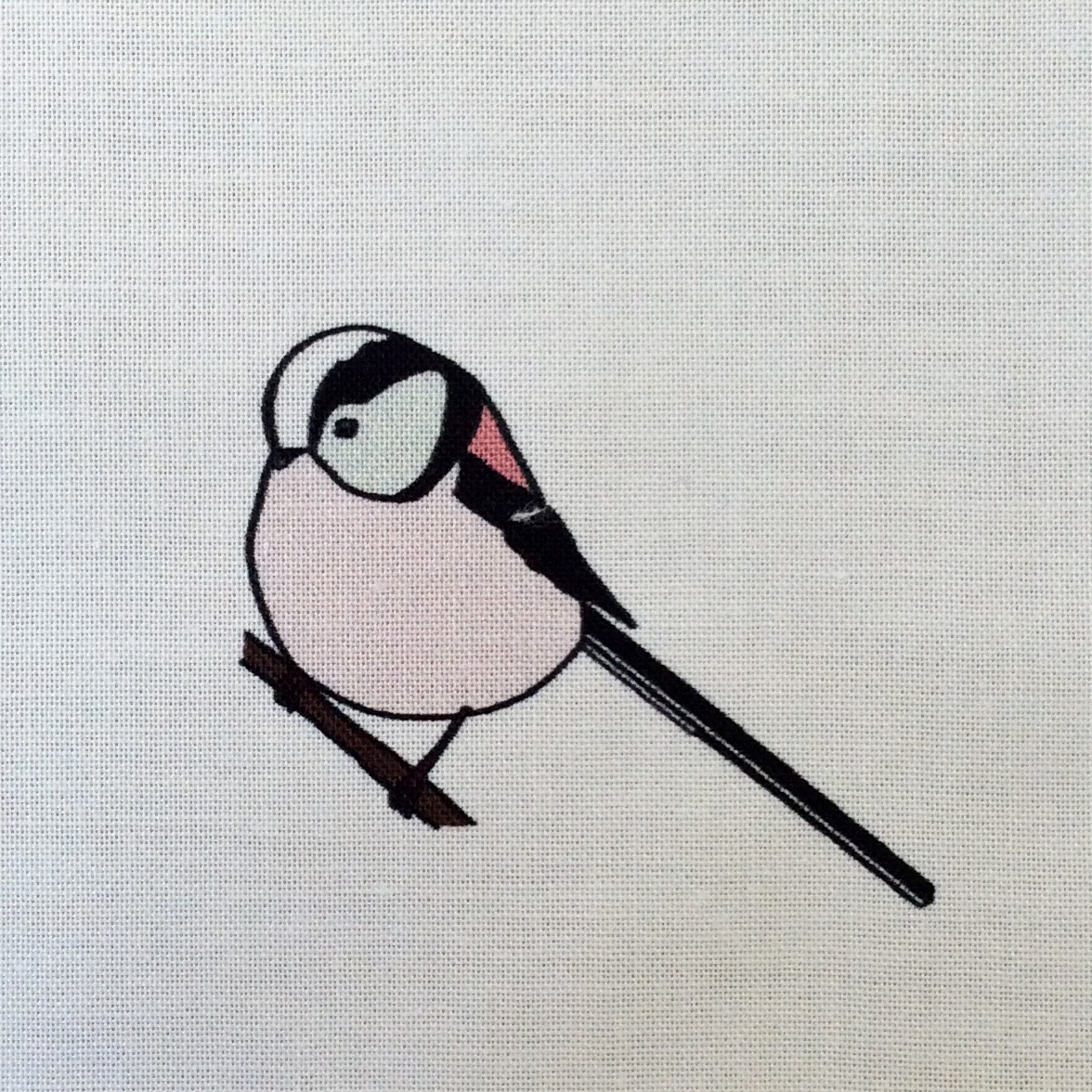 Long-tailed tit fabric strip