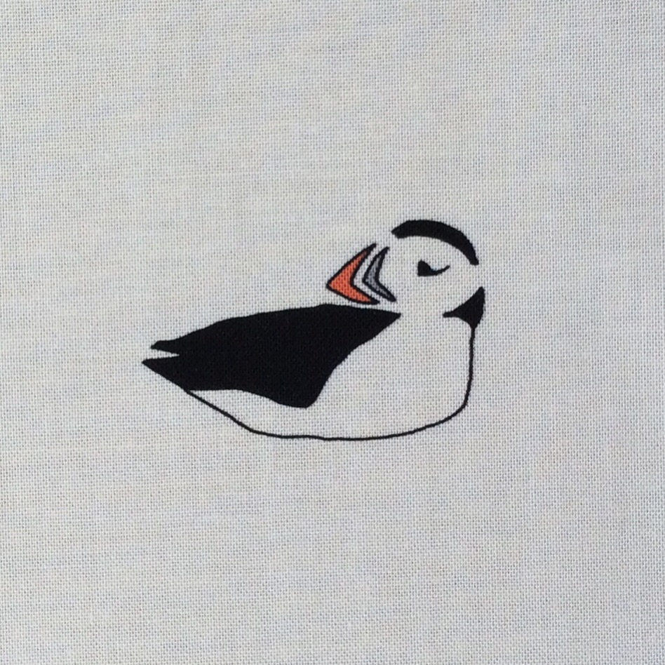 6 puffins fabric strip