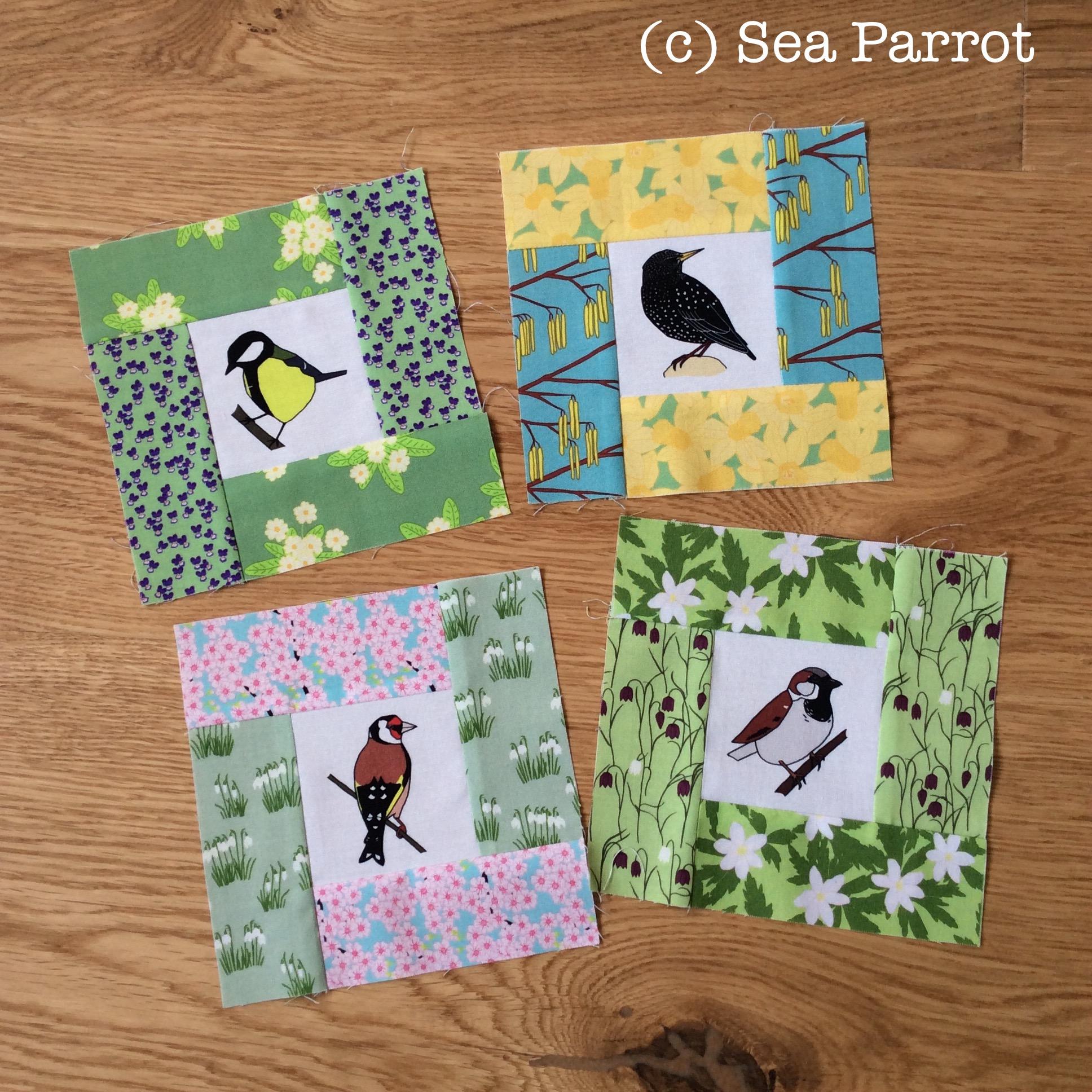 12 Garden birds fabric strip