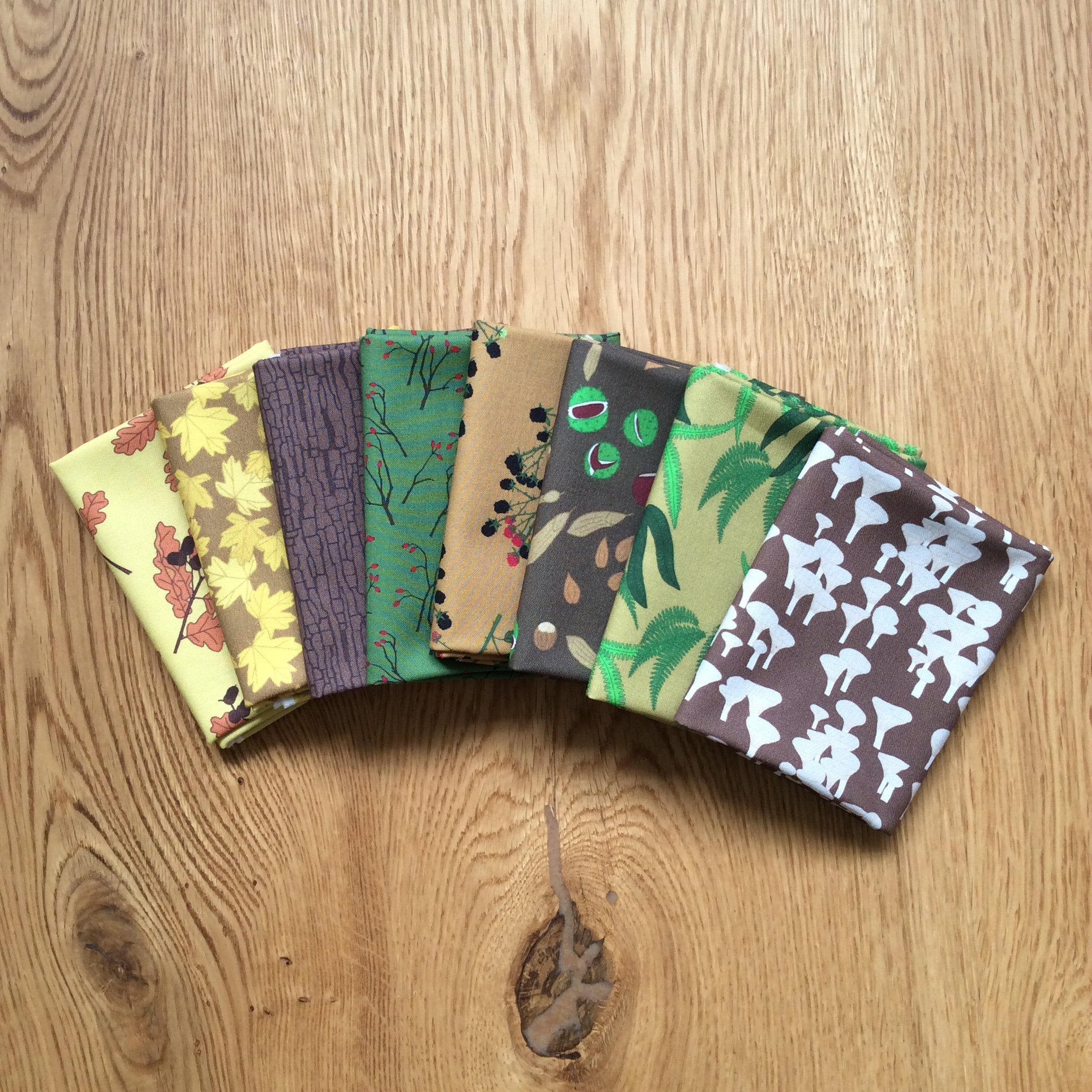 Autumn woodland fabric fat quarter bundle