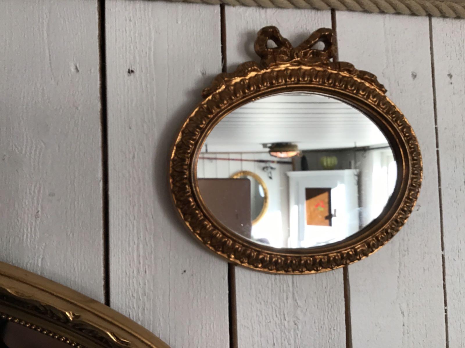 Spegel liten med rosett (second hand, vintage, retro)