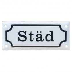 """Emaljskylt """"Städ"""" 120 x 55 mm. Blå eller Vit"""