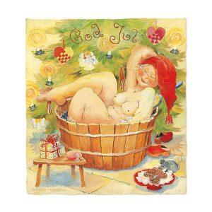 Birgitta Lindeblad - vykort - Julbadet