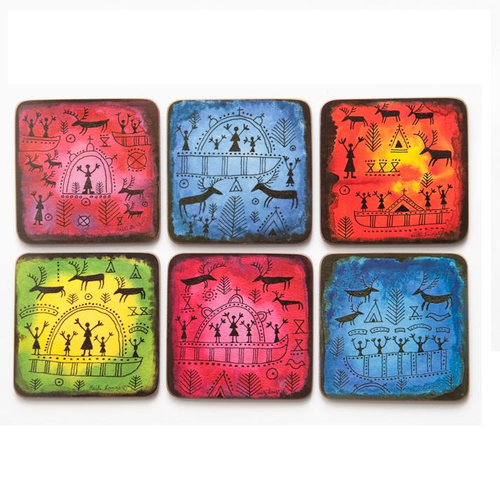 Glasunderlägg samiska tecken 6-pack
