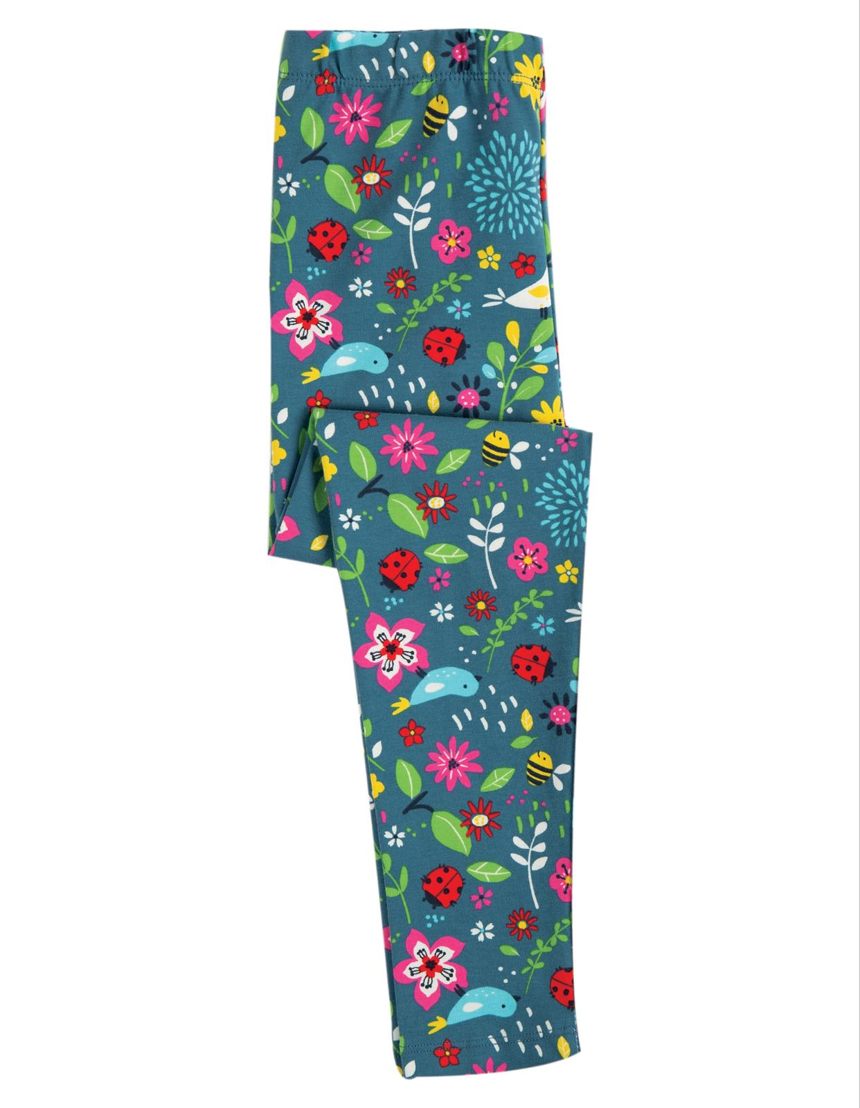Frugi Libby Printed Leggings, Garden Friends