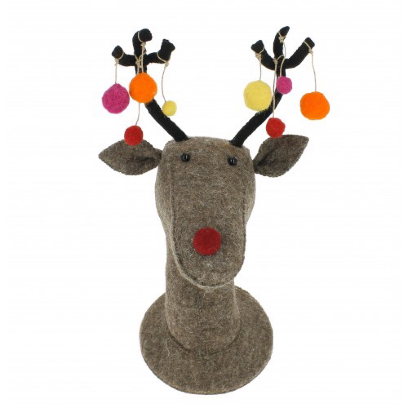 Reindeer Head with Coloured Pom-poms