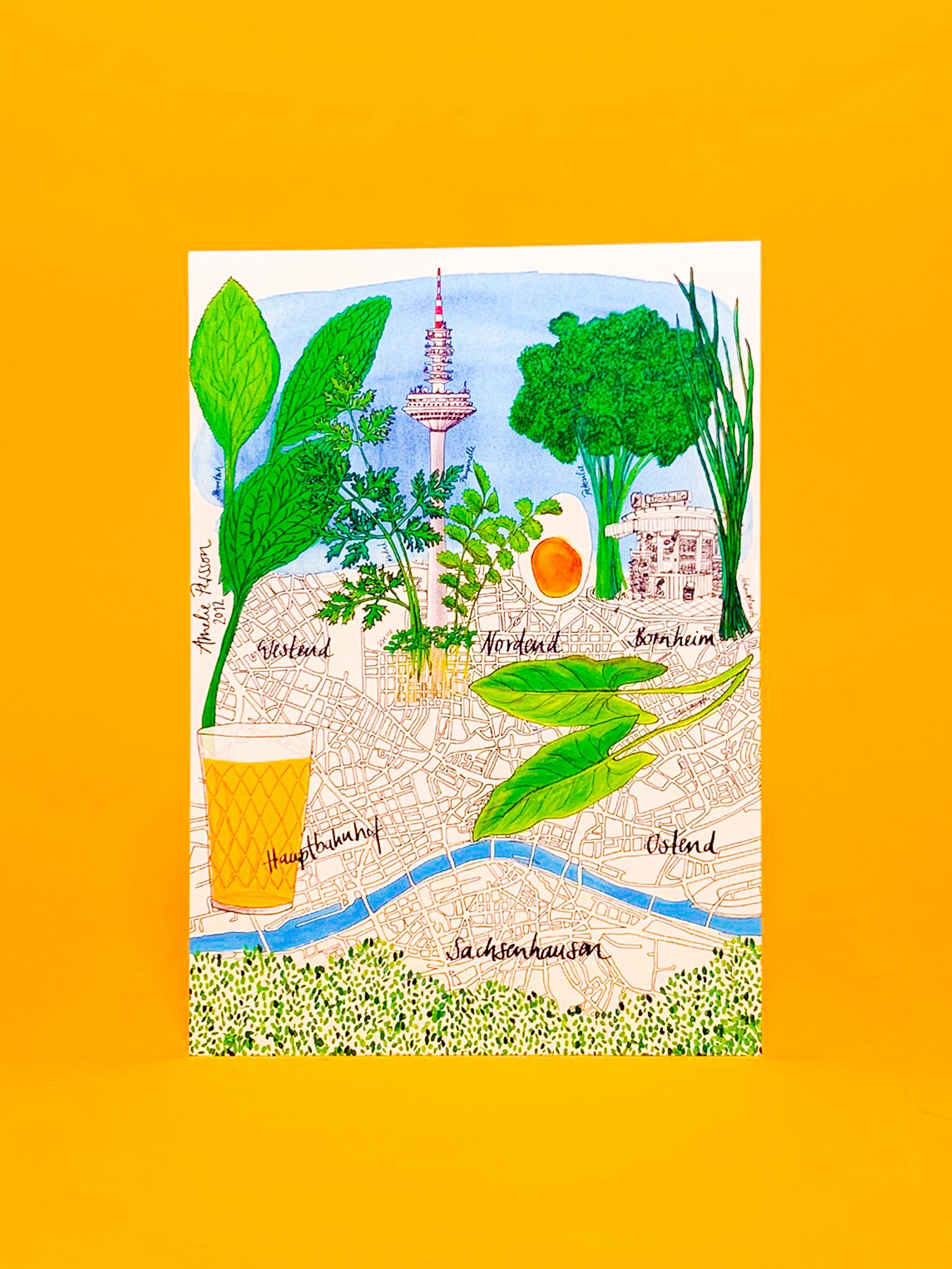 Postkarte Frankfurt Stadtplan