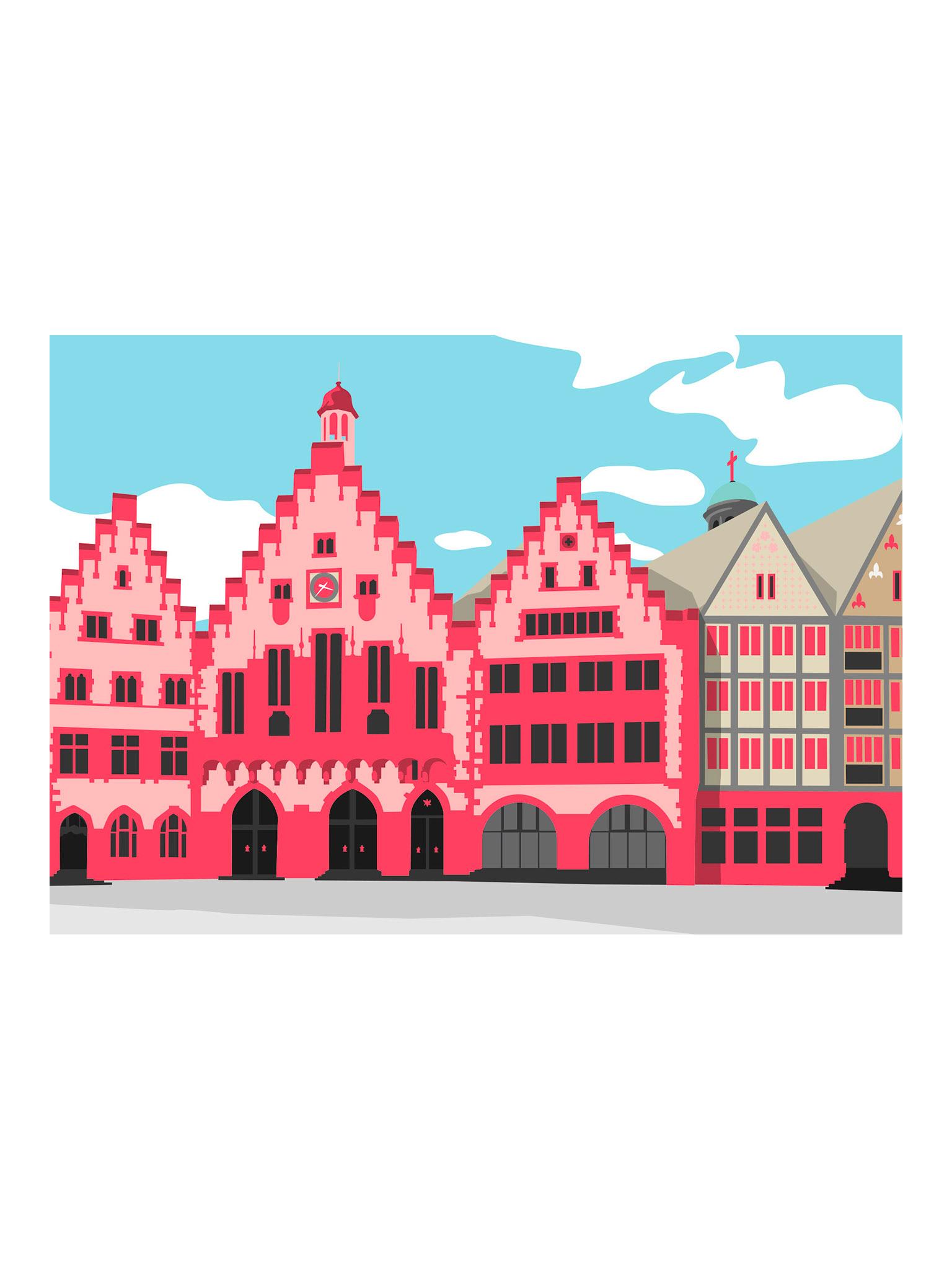 Postkarte Frankfurt Römer Bunt
