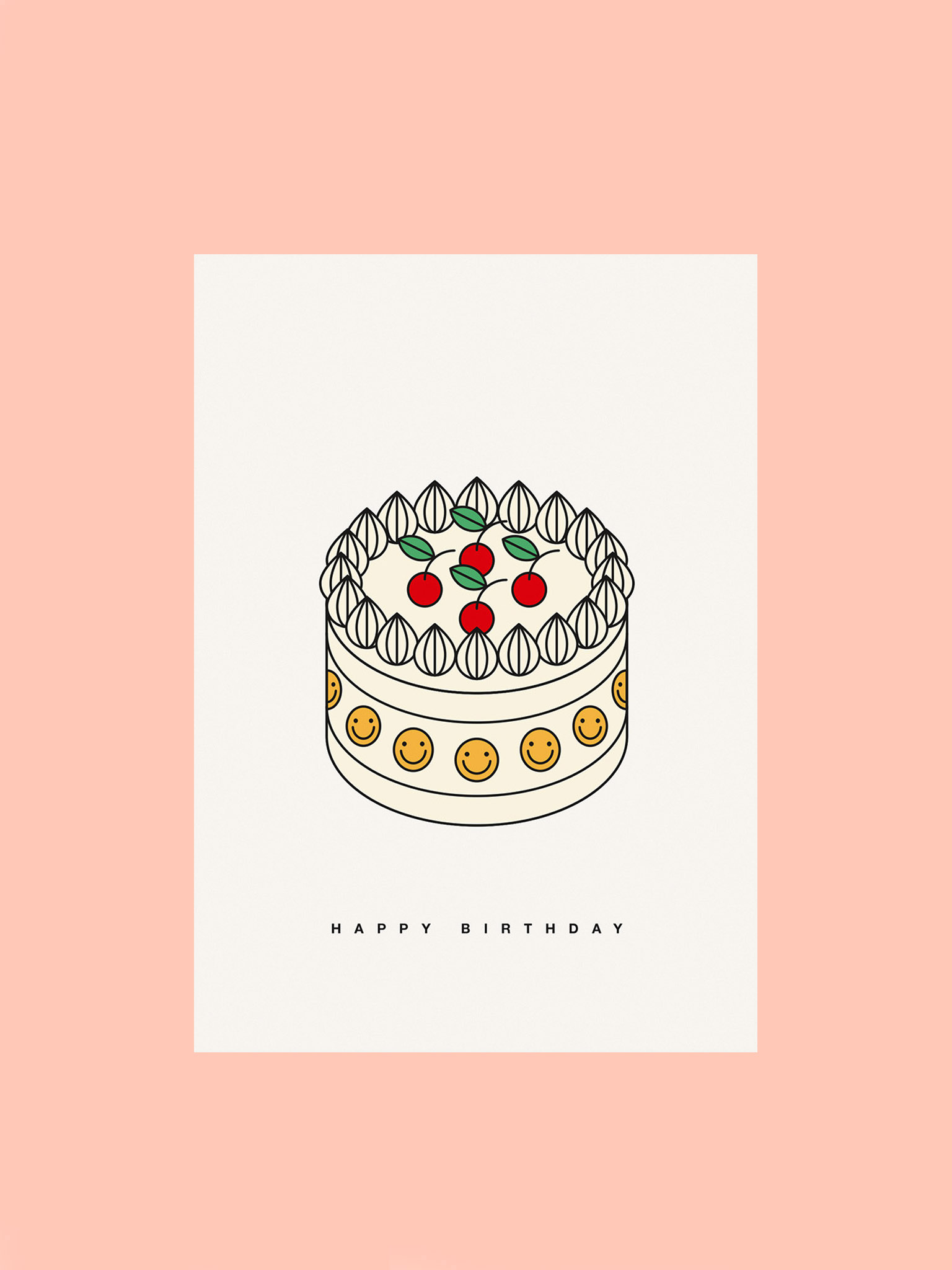 Postkarte Happy Birthday Torte