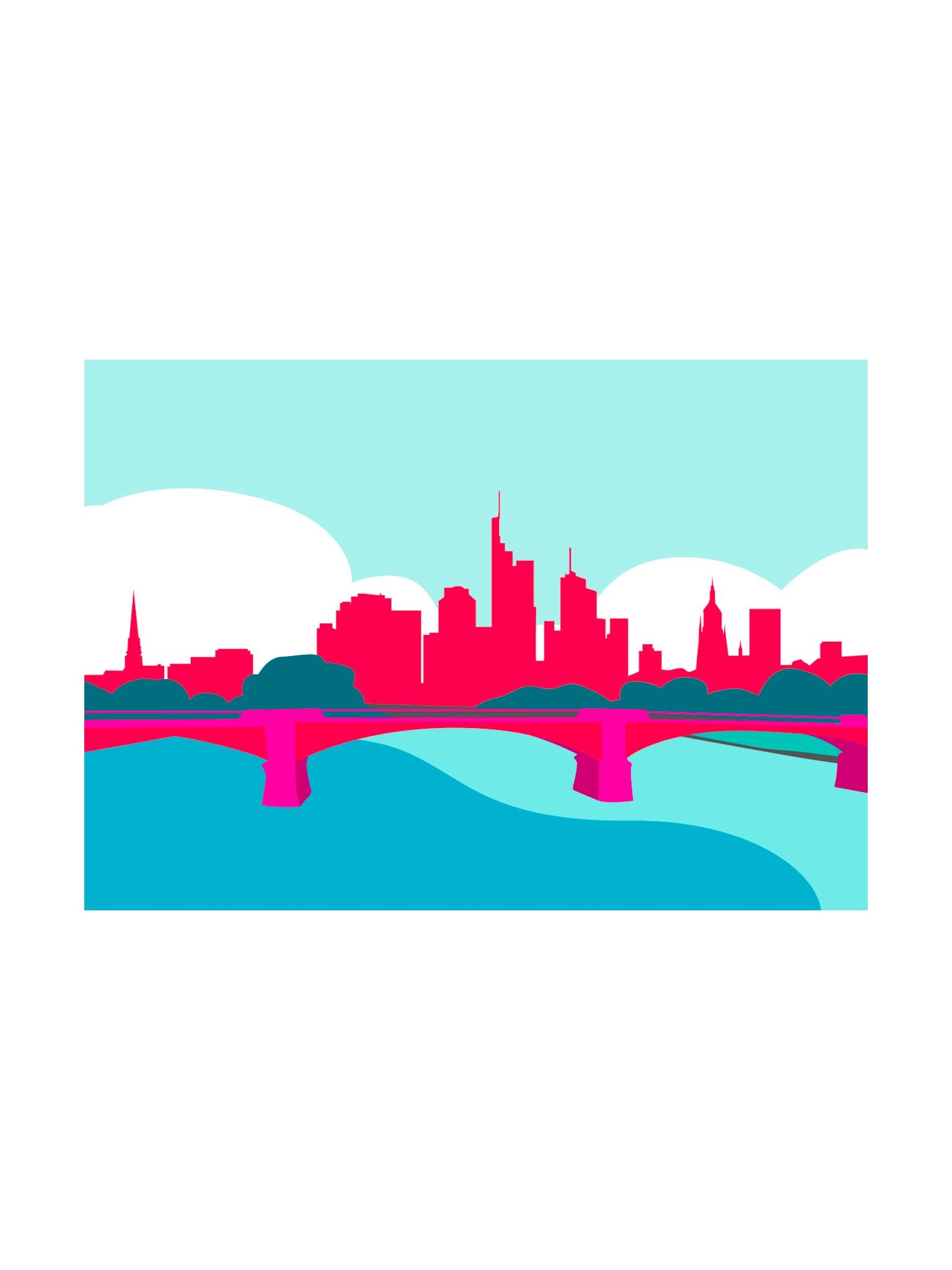 Postkarte Frankfurt Skyline