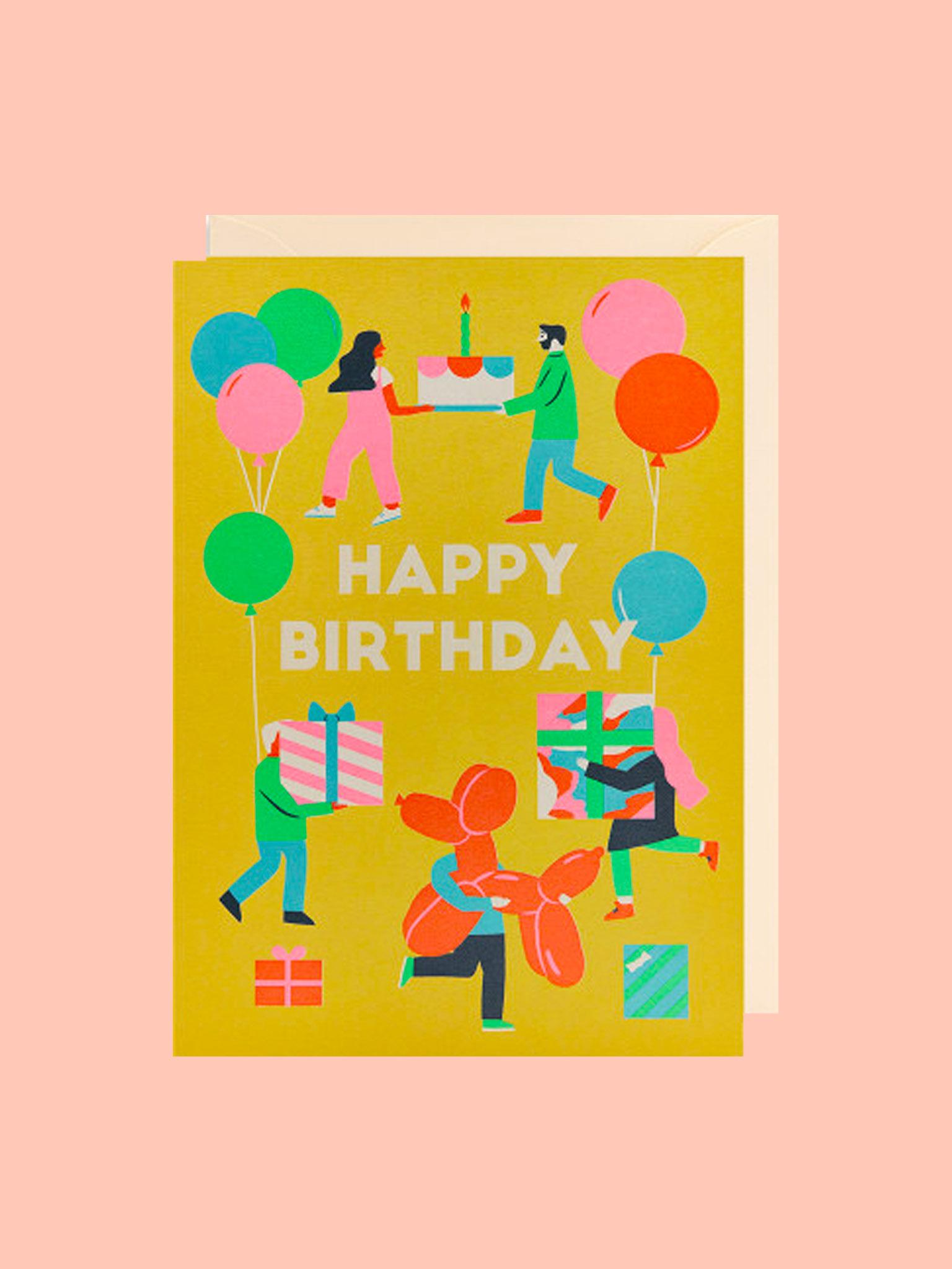 Klappkarte Happy Birthday Balloons