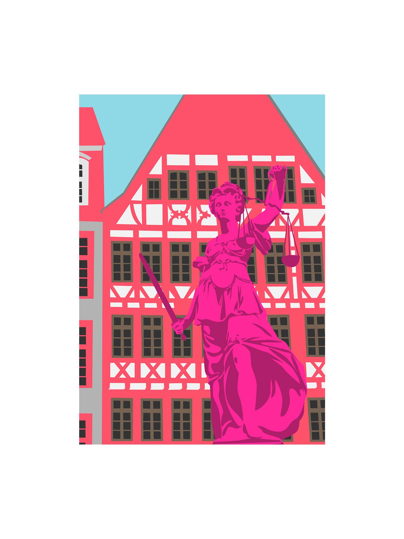 Postkarte Frankfurt Römerbrunnen